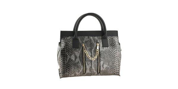 Dámska strieborno-čierna kabelka s motívom hadej kože Classe regina