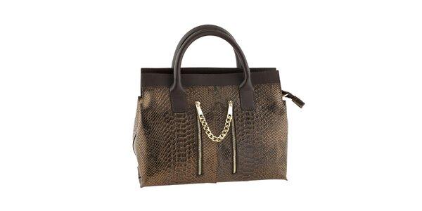 Dámska bronzovo-hnedá kabelka s motívom hadej kože Classe regina