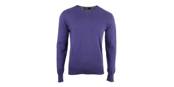 Pánsky fialový sveter s véčkovým výstrihom Big Star