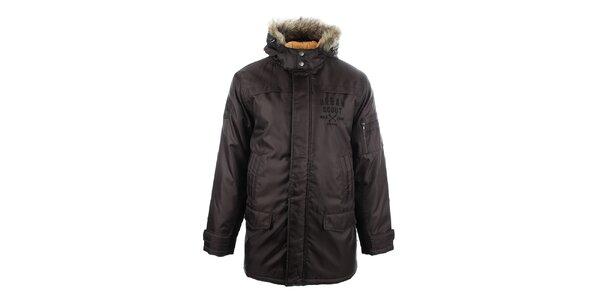 Pánsky hnedý kabát s kožúškom Big Star