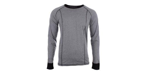 Pánske šedé slim fit tričko s čiernymi prvkami Big Star