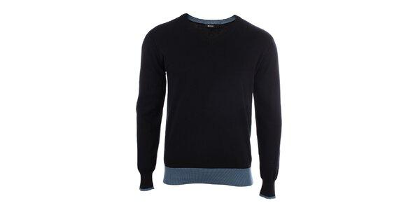 Pánsky čierny sveter s véčkovým výstrihom Big Star