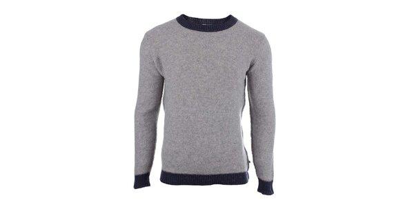 Pánsky šedý sveter s kontrastným lemovaním Big Star