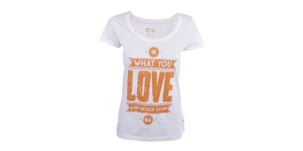 Dámske biele tričko s oranžovou potlačou Big Star