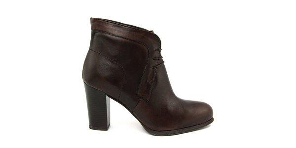 Dámske tmavo hnedé členkové topánky Paola Ferri