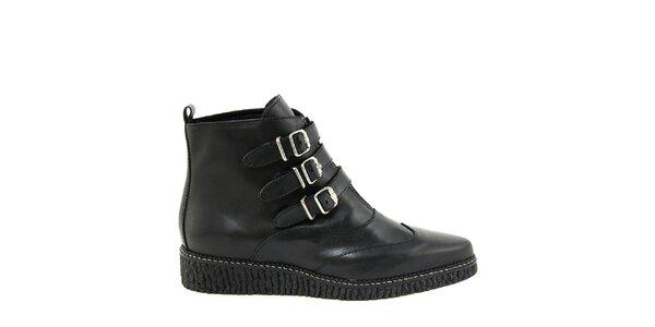 Dámske čierne topánky so zipsom a prackami Paola Ferri