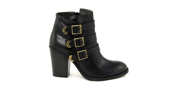 Dámske čierne topánky s tromi remienkami Paola Ferri
