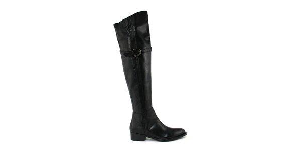 Dámske vysoké čierne čižmy s prackou Paola Ferri