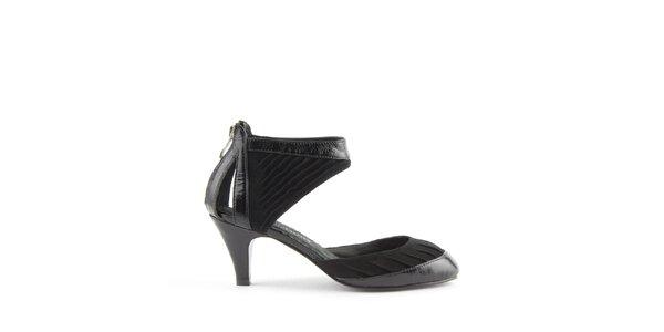 Dámske čierne kožené sandálky Lise Lindvig s pevnou pätou