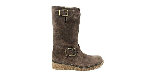 Dámske tmavo hnedé topánky s kožúškom Paola Ferri