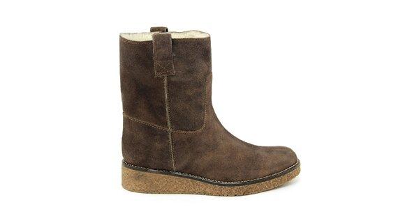 Dámske tmavo hnedé členkové topánky s kožúškom Paola Ferri