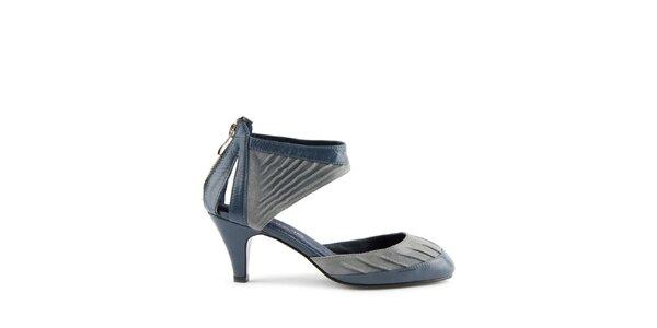 Dámske modré kožené sandálky Lise Lindvig s pevnou pätou