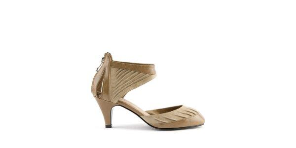 Dámske svetlo hnedé kožené sandálky Lise Lindvig s pevnou pätou