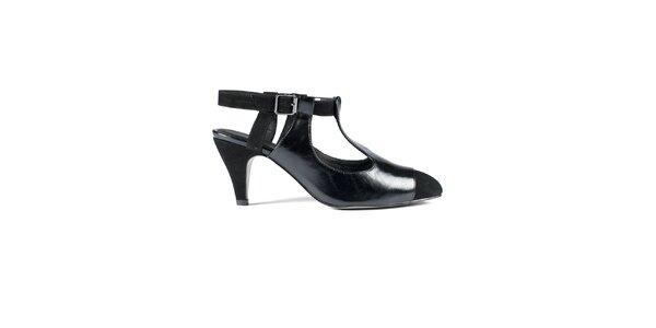 Dámske čierne kožené sandálky Lise Lindvig