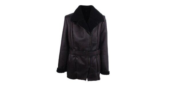 Pánsky tmavo hnedý kabát z umelej kože Big Star