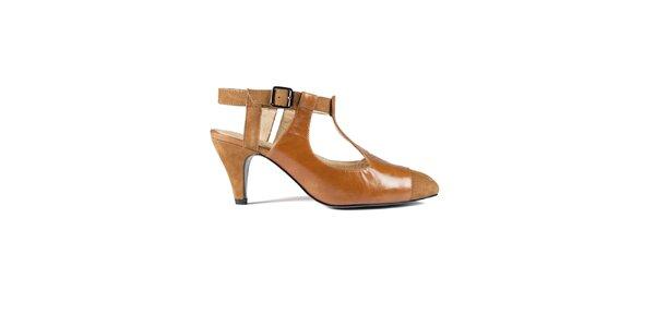 Dámske oranžovo hnedé kožené sandálky Lise Lindvig