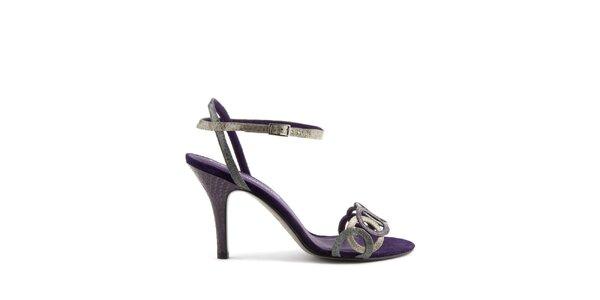 Dámske fialové pásikavé topánky Lise Lindvig s hadím motívom