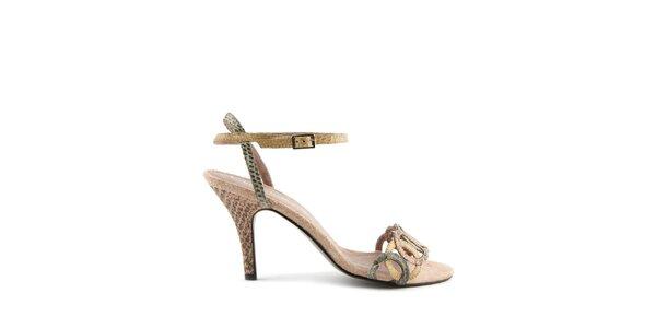 Dámske ružovo-béžové pásikavé topánky Lise Lindvig s hadím motívom