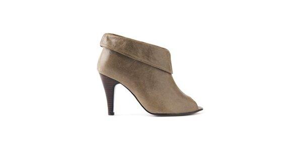 Dámske šedo hnedé kotníkové topánky Lise Lindvig s otvorenou špičkou