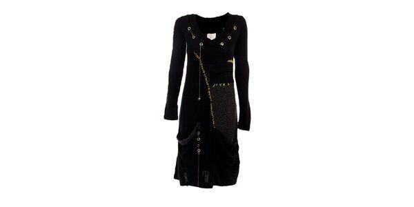 Dámske čierne šaty s cvočkami a žltými detailmi DY Dislay Design