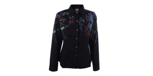 Dámska čierna košeľa s abstraktným zdobením DY Dislay Design