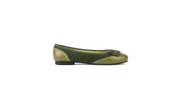 Dámske olivovo zelené baleríny Lise Lindvig s kovovými cvokmi