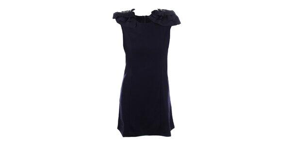 Dámske tmavo modré šaty s ozdobnými ramenami Dislay DY Design