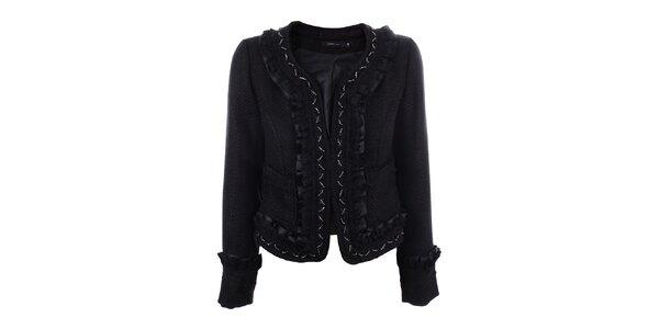 Dámsky čierny krátky kabátik s korálkami Dislay DY Design