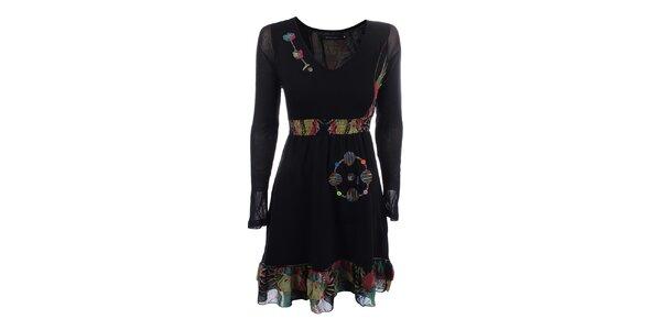 Dámske čierne šaty s volánikom a farebnými výšivkami Dislay DY