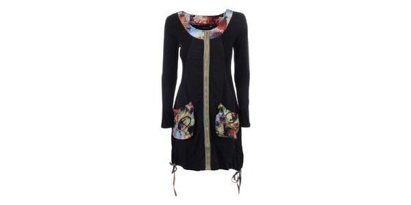Dámske čierne šaty s farebným zipsom Dislay DY Design