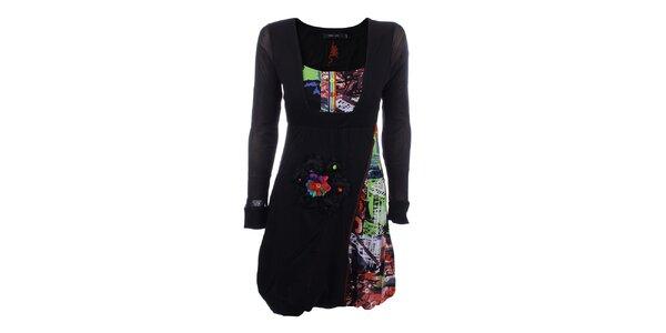 Dámske čierne šaty s farebnými prvkami a kvetinou Dislay DY Design