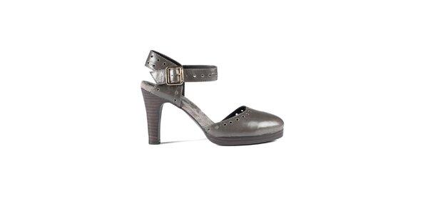 Dámske oceľovo šedé lakované sandálky Lise Lindvig s plnou špičkou