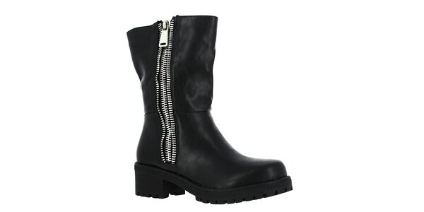 Dámske čierne topánky so striebornými zipsami Shoes and the City