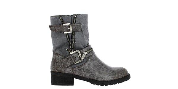Dámske šedé členkové topánky s prackami Shoes and the City