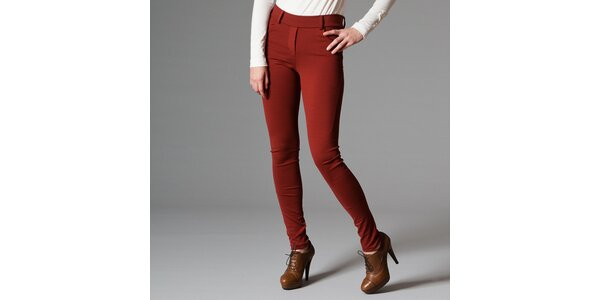 Dámske tmavo červené nohavice