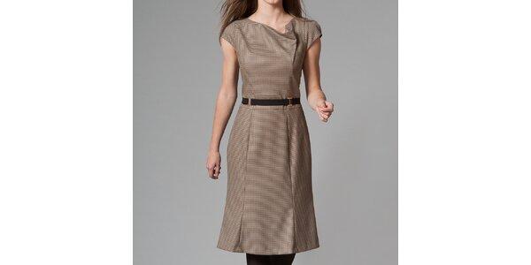 Dámske hnedé vzorované šaty Pietro Filipi