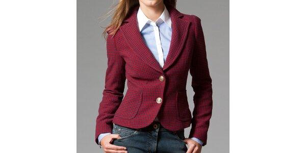 Dámske červeno-modré sako s kohúťou stopou Pietro Filipi