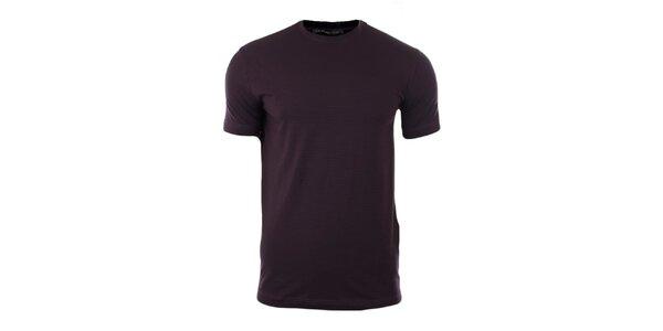 Pánske fialové tričko s čiernymi prúžkami Pietro Filipi