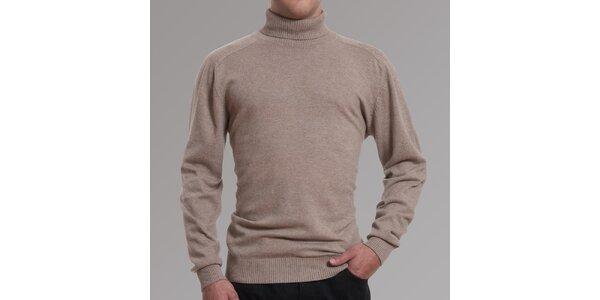 Pánsky béžový sveter s rolákom Pietro Filipi