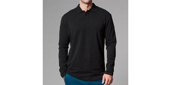 Pánske čierne polo tričko s dlhým rukávom Pietro Filipi