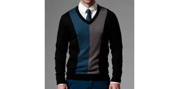 Pánsky čierny sveter s kontrastnými pruhmi Pietro Filipi