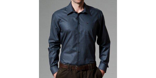 Pánska modro-čierna košeľa s dlhým rukávom Pietro Filipi