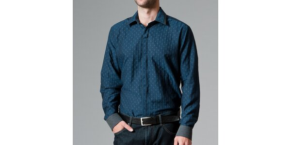 Pánska tmavo modrá košeľa so vzorom Pietro Filipi