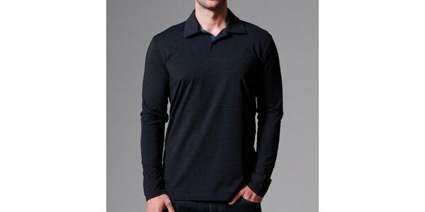 Pánske čierne polo tričko s prúžkami Pietro Filipi