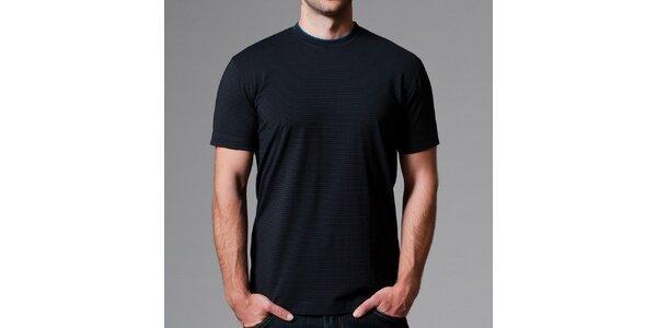 Pánske čierne pruhované tričko Pietro Filipi