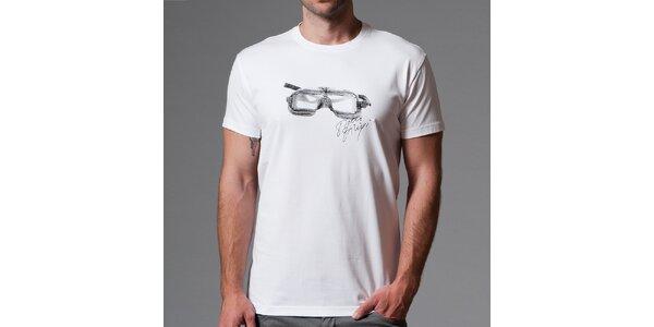 Pánske biele tričko s potlačou okuliarov Pietro Filipi