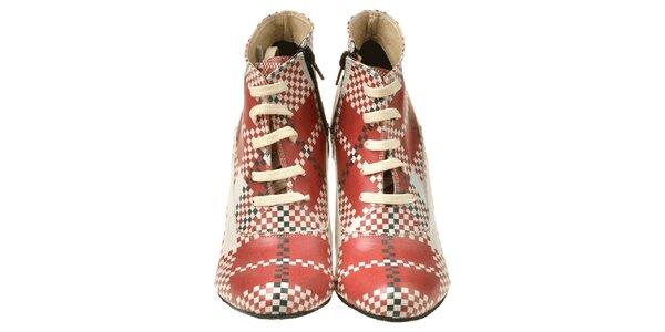 Dámske členkové topánky na kline s kockovaným vzorom Elite Goby