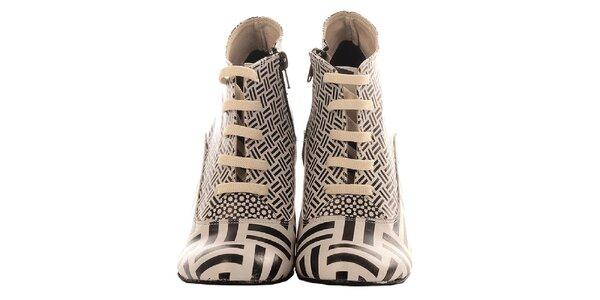 Dámske členkové čierno-biele topánky Elite Goby