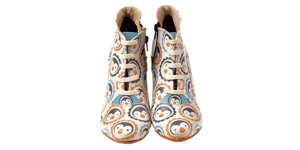 Dámske členkové topánky na kline s tučniakmi Elite Goby