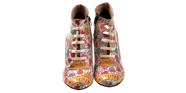 Dámske členkové topánky s farebnými lístkami Elite Goby